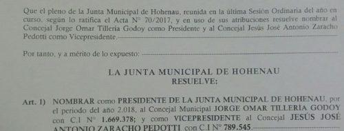 Resolucion Nro 24 De La Junta Municipal De Hohenau En La Cual Se Nombra Al …
